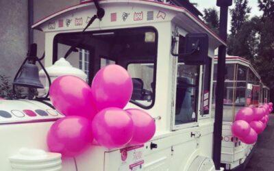 Aujourd'hui le petit train touristique qui circule dans notre belle ville d'Angers porte les couleurs d'Octobre rose.